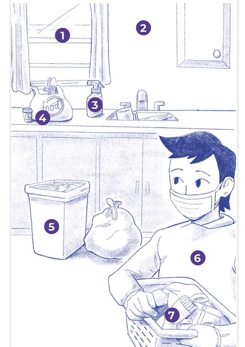 illustration of a caregiver doing laundry for the patient wearing protective equipment and taking care of the common space of the home care house.