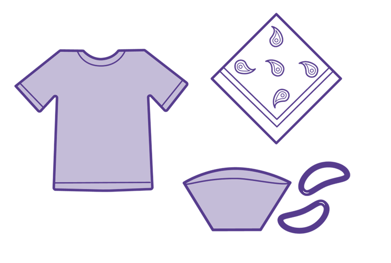 illustration of home made mask materials, t-shirt, bandana, coffee filter, and rubber bands.