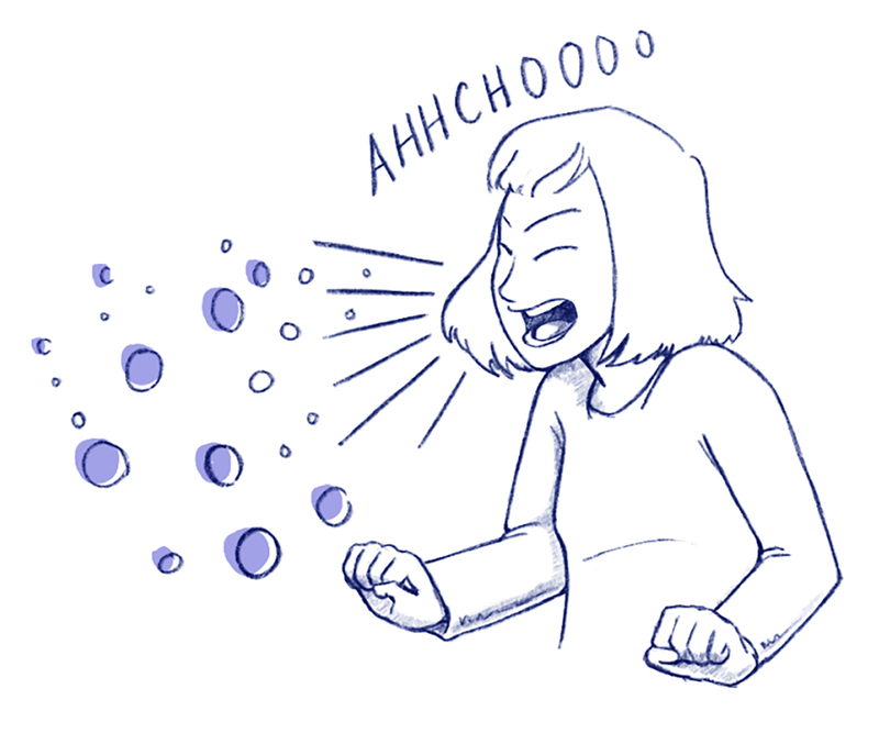 llustration of a person sneezing.