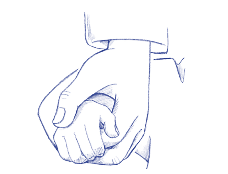 llustration of a hand holding a child's hand.