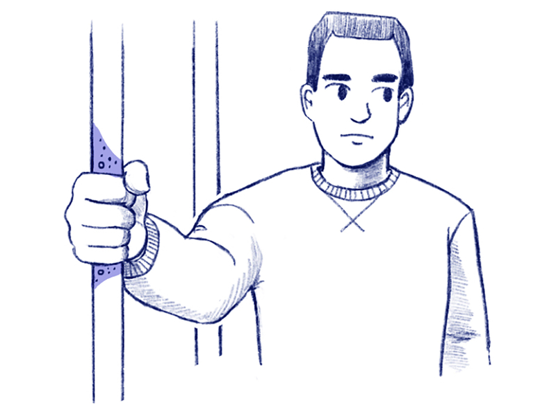 Illustration of a person holding a subway pole.